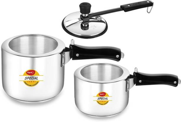 Pigeon Special Stainless Steel 3 L, 2 L Induction Bottom Pressure Cooker