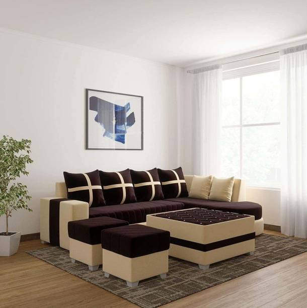 Torque Dalton RHS L Shape 8 Seater Sofa Set with Centre Table and 2 Puffy (Brown) Fabric 3 + 2 + 2 + 1 Brown Sofa Set