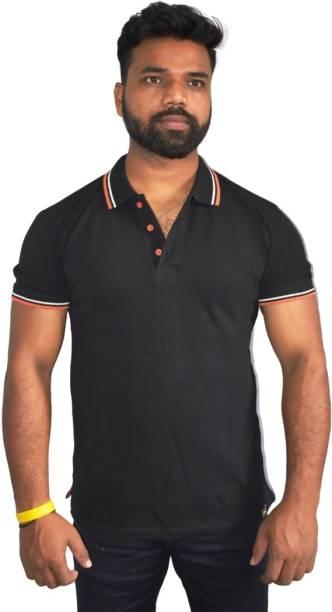 PSI Solid Men Polo Neck Reversible Black T-Shirt