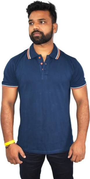 PSI Solid Men Polo Neck Reversible Blue T-Shirt