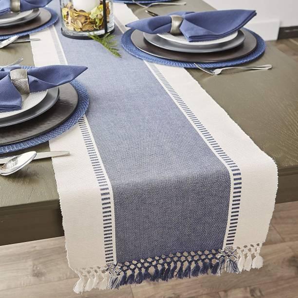 crazy weaves White, Blue 182 cm Table Runner