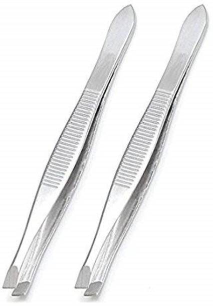 High Profile Slant Tip Tweezer and Plucker For Upper Lip, Eyebrows and Blackhead for Men & Women - Silver (Pack 2)