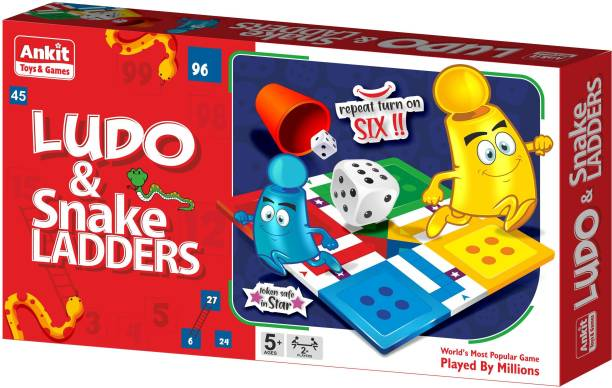 Ankit Toys 2 in 1 Kids Ludo Snakes & Ladder Board Game 13.5 X 13.5 Inch - Multicolor Party & Fun Games Board Game