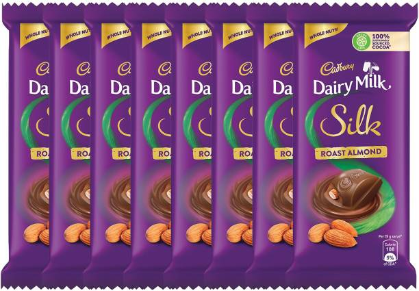Cadbury Dairy Milk Silk Roast Almond Chocolate Bar, 58g – Pack of 8 Bars