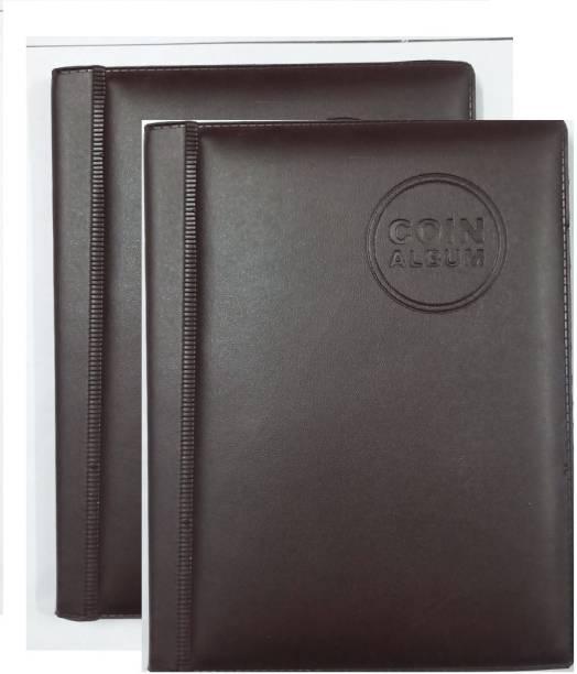 rci 2 PCS Set Coin Album Keeping 60 Coins collection Color Dark brown Coin Bank
