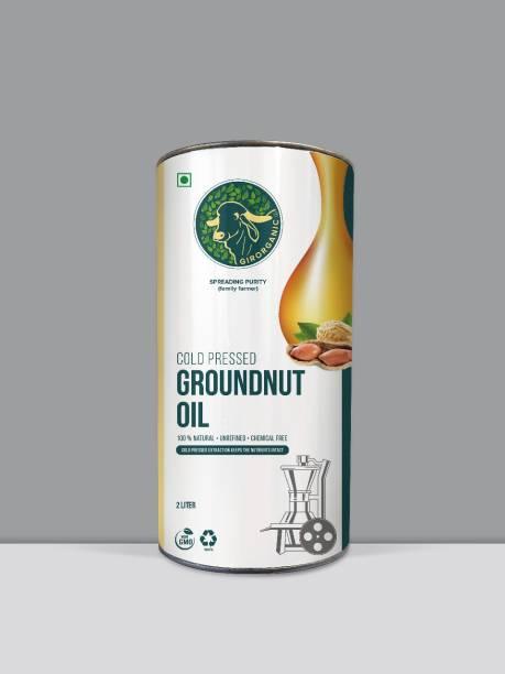 GIRORGANIC Cold Pressed Kacchi Ghani/ Chekku/ Kolhu Groundnut Oil 2 Litre Groundnut Oil Tin