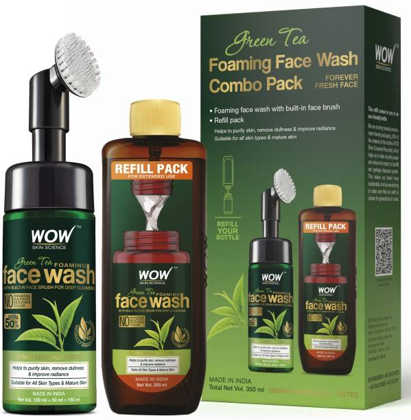 WOW SKIN SCIENCE Green Tea Foaming  Combo Pack- Consist of Foaming  with Built-In Brush & Refill Pack - No Parabens, Sulphate, Silicones & Color - Net Vol. 350mL Face Wash