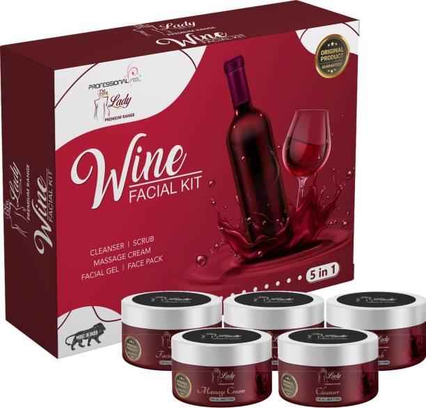 PROFESSIONAL FEEL Blue Lady Red Wine Facial Kit (275 gm), Professional Skin Whitening Facial Kit For All Type Skin Solution women & Men