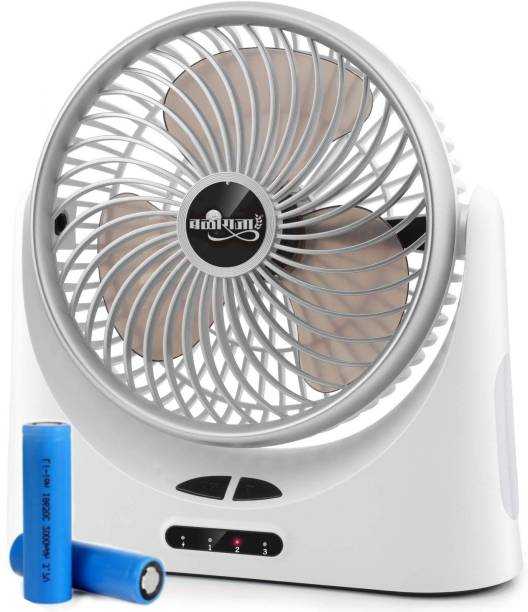 BALIRAJA Rechargeable Fan for office, travel, kitchen, camping, outdoor. 150 mm Silent Operation 3 Blade Table Fan