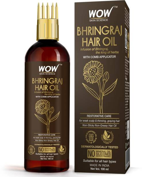 WOW SKIN SCIENCE Bhringraj Hair Oil - Non Sticky & Greasy - with Comb Applicator - for All Hair Types - Non-Sticky & Non-Greasy Hair Oil - No Mineral Oil, Silicones, Synthetic Fragrance - 100mL Hair Oil