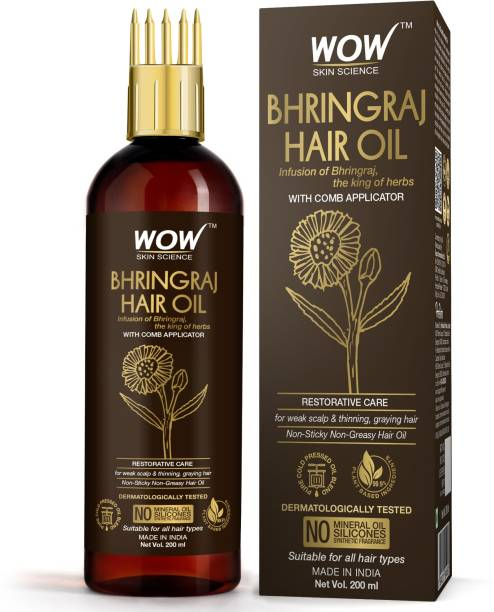 WOW SKIN SCIENCE Bhringraj Hair Oil - Non Sticky & Greasy - with Comb Applicator - for All Hair Types - Non-Sticky & Non-Greasy Hair Oil - No Mineral Oil, Silicones, Synthetic Fragrance - 200mL Hair Oil