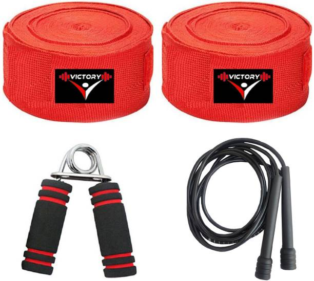 VICTORY Combo Boxing hand Wrap & Skipping Rope With Grip For Fitness , Boxing Boxing Kit