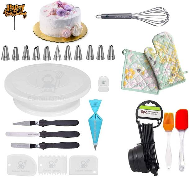 Gabani fashion combo56 cake decoration tools for cake baking and making tools for home1 cake stand+ 12 piece nozzles+ 3 piece scrapper+ 1 smoother+ 3 knifes+ 1 happy birthday topper+ 1 printed reusable base board+ 5 piece spoon+ oven gloves+ spatula brush Kitchen Tool Set