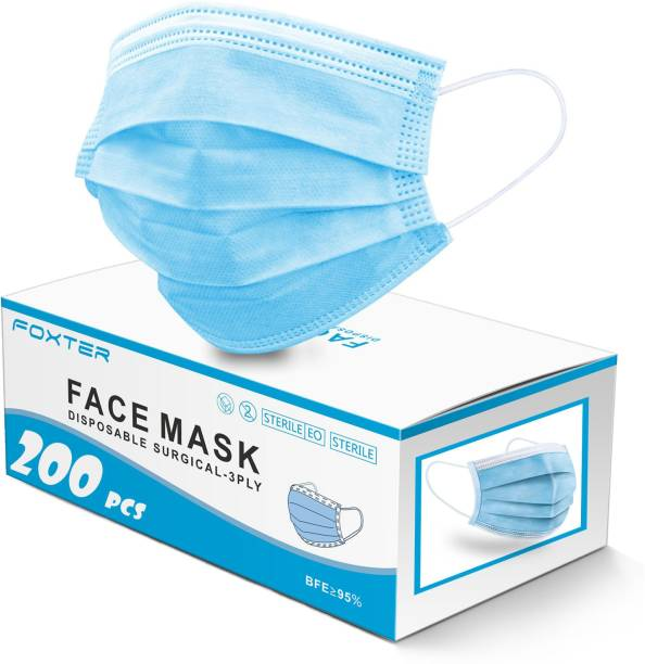 Foxter 3 ply Surgical Face mask 100% certified anti pollution - anti viral Mask with Nose-pin and soft Ear-loops Mask-200) Surgical Mask