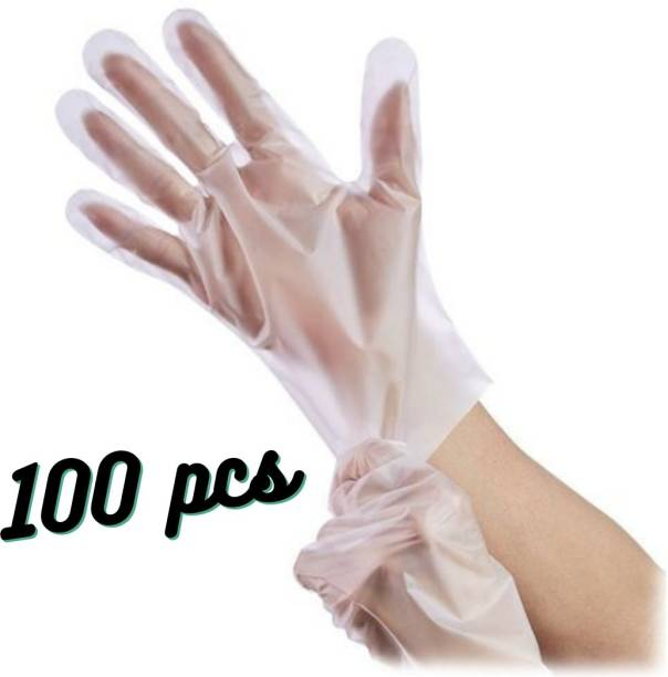 Uniqon Wet And Dry High-Density Multi-Purpose Clear Blue Eco-Friendly Plastic Polyethylene Cooking, Cleaning, Kitchen Food Handling Hand Gloves Set100 pcs 50 pairs Polyisoprene Examination Gloves