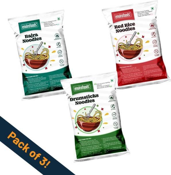 envirofoods Instant Noodles Pack of 3 (Red Rice, Bajra, Drumsticks Instant Noodles Vegetarian