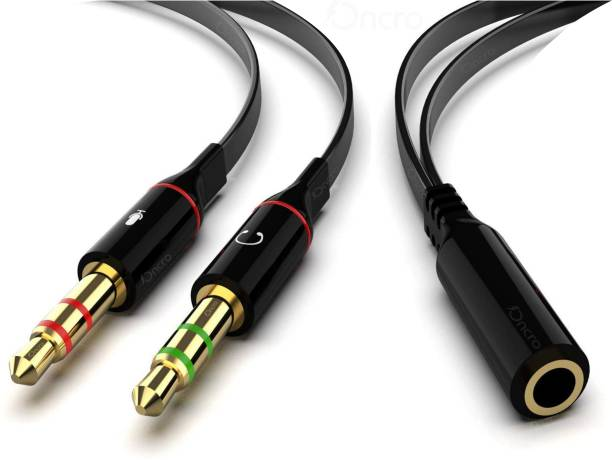 ONCRO Black Gold Plated 3.5mm Aux 2 Dual y splitter for mic and audio headphone splitter 2 male 1 female audio jack Earphone splitter cable Black Stereo Jack Audio Connector for PC, Laptop Phone Converter Phone Converter