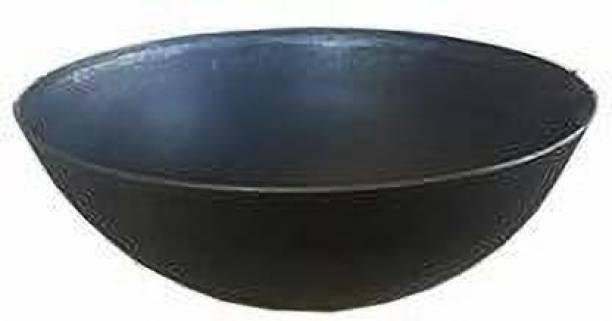 Super HK 1 Pure Iron/Loha Deep Fry Kadhai|Black - 10 Inches Without Handle… Kadhai 25 cm diameter 1.75 L capacity