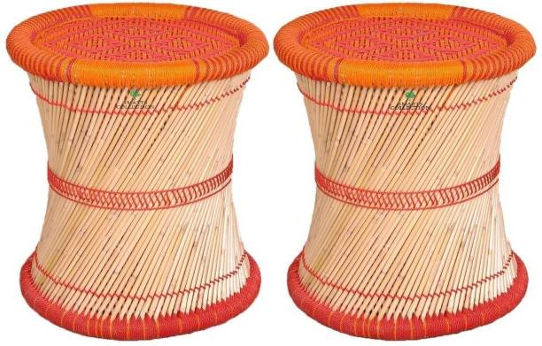 Smarts collection wooden mudda or stool for childrens ,wooden stool ,side table, end table set of 2 in Orange Color (Multi-Colored - 12x12x12 Inch) Bamboo Side Table