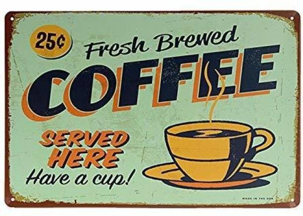 House of Queens Fresh Brewed Coffee Retro Vintage Decorative Tin Metal Sign For Home   Kitchen   Bar   Office   Wall Hanging Decor Sign