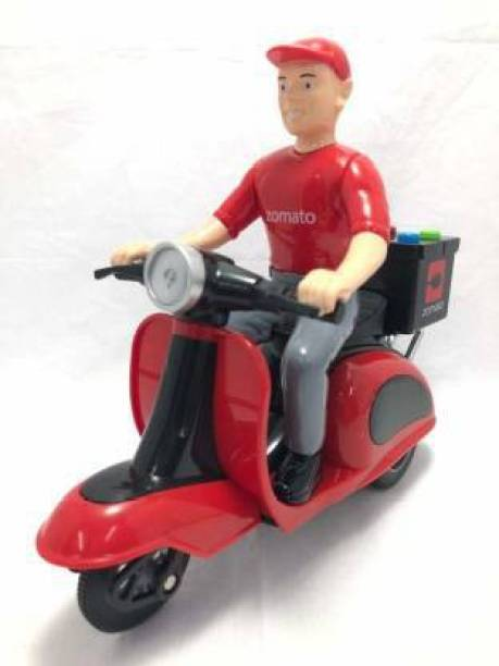 Aruj Zomato Food Delivery Scooter for Toys,Friction Power,Plastic Pull Back Motorcycle Vehicle,Toys Gift with Light and Music Kids Toy for Baby Boys and Girls (Red, Pack of: 1)