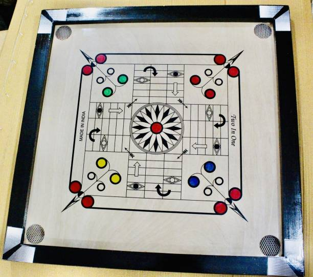 TYF Premium Medium Carrom Board ludo with wooden Coins Striker Powder (26 x 26 Inch) 66 cm Carrom Board