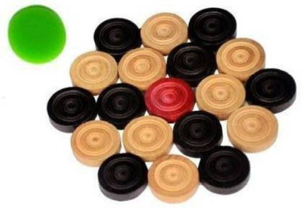 Nidhis shiny wooden coins for carrom board with sticker Carrom Pawns