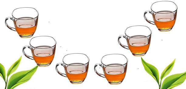 JIGSHTIAL Pack of 6 Glass Transparent Glass Tea & Coffee Cups - 6 Pieces, Clear, 170 ml