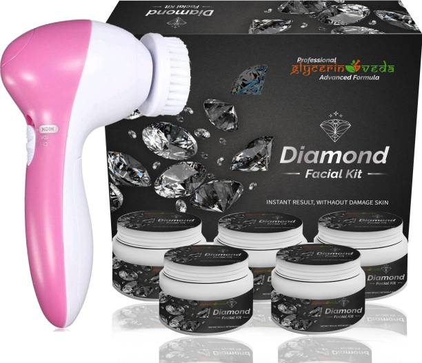 GlycerineVeda Professional Feel Diamond Lotus Skin Whitening & Tightening Facial Kit With Face Massager for Facial, Suitable For all Age, Unisex For Fairness, Lotus Best In-stat Glow Facial Kit Ever in INDIA