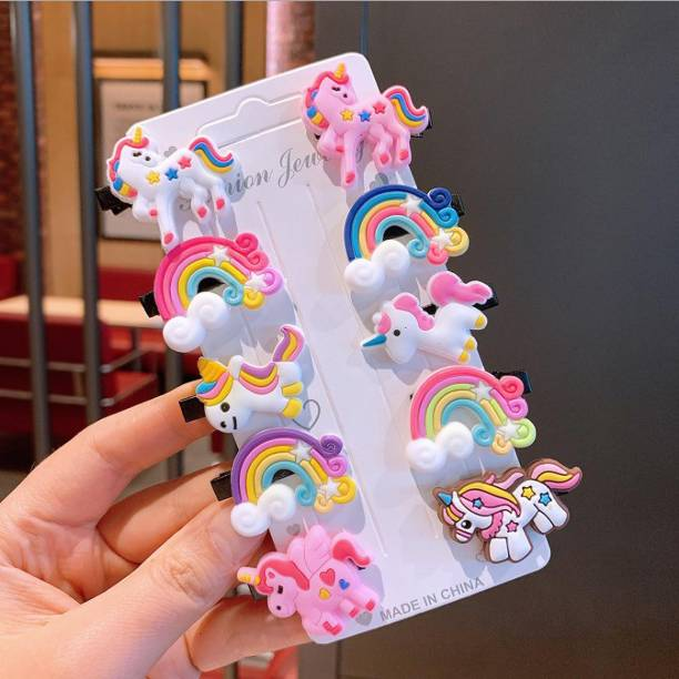 HOMEMATES 10pcs Rainbow Unicorn Multicolor Stylist fancy Hair Clips Set Baby Hairpin For Kids Girls Toddler Barrettes Hair Accessories Baby Girl Clip Hair Clip
