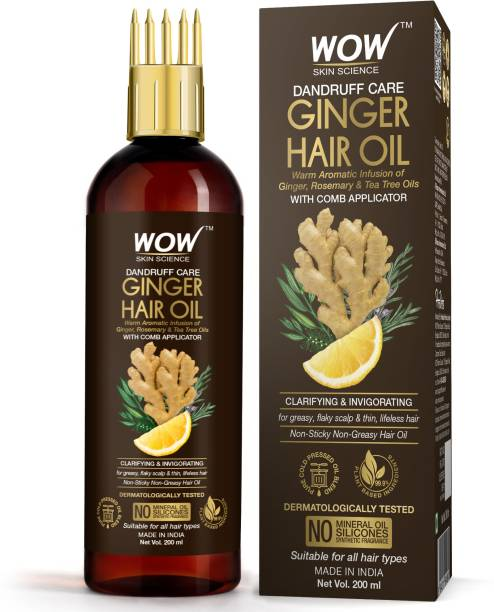WOW SKIN SCIENCE Ginger Hair Oil - for Dandruff Care - with Comb Applicator - for All Hair Types - Non-Sticky & Non-Greasy Hair Oil - No Mineral Oil, Silicones, Synthetic Fragrance - 200mL Hair Oil
