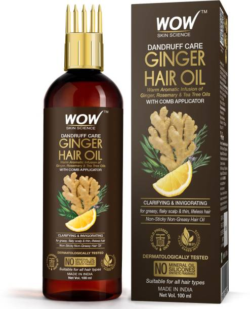 WOW SKIN SCIENCE Ginger Hair Oil - for Dandruff Care - with Comb Applicator - for All Hair Types - Non-Sticky & Non-Greasy Hair Oil - No Mineral Oil, Silicones, Synthetic Fragrance - 100mL Hair Oil