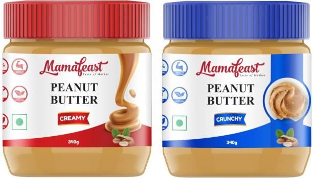 Mamafeast Peanut Butter Crunchy + Creamy 680g |Source of Protein & Fiber| No Added Sugar | Non GMO | Gluten Free | | Premium Peanuts |100% Vegan | 340g Pack of 2 |(Pack 2) 680 g
