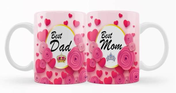 iMPACTGift Best Dad & Mom Couple Gift for Mummy Papa, Anniversary, Birthday Gifts Ceramic Coffee Mug