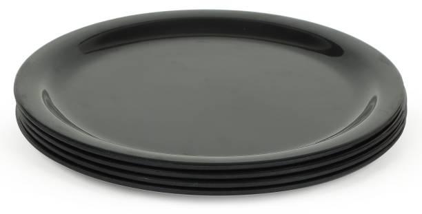 Golden Fish Melamine Round Black Quarter||Starter Floral Printed Dinner Plates (Set of 4; Size:- 11 Inches (RM-PlainBlack-FP-4) Dinner Plate