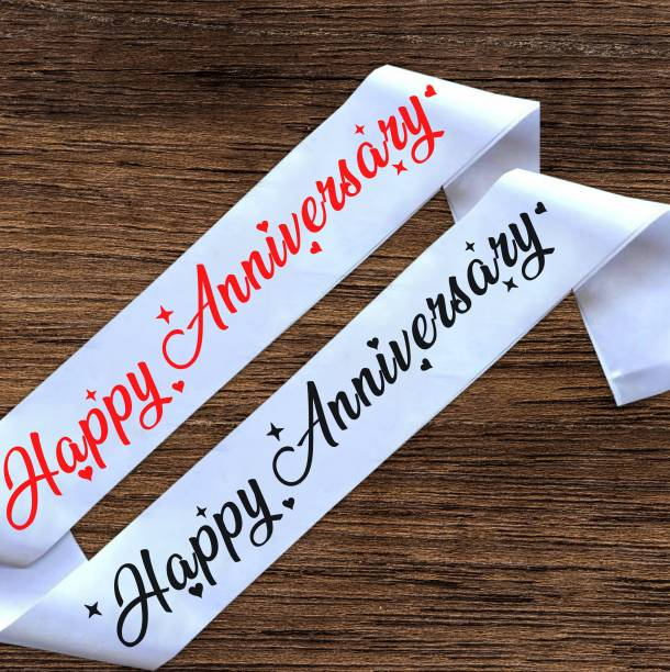 """Style Secrets 3"""" Shimmering White Satin Happy Anniversary Sash for His and Her ( Couple )"""