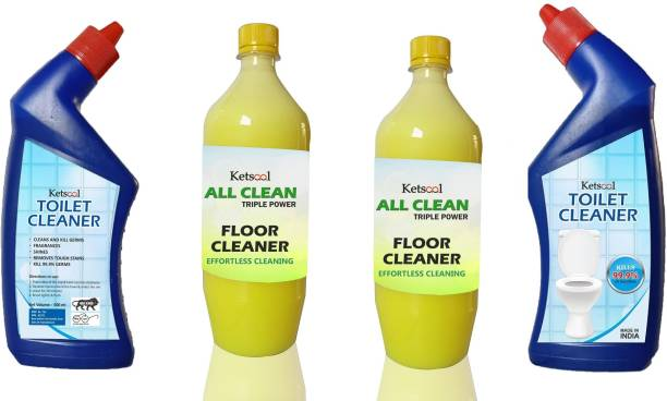 Ketsaal Toilet Cleaner Original set of 2 - 500 ml & Floor Cleaner set of 2 - 1L Lemon Gel Toilet Cleaner