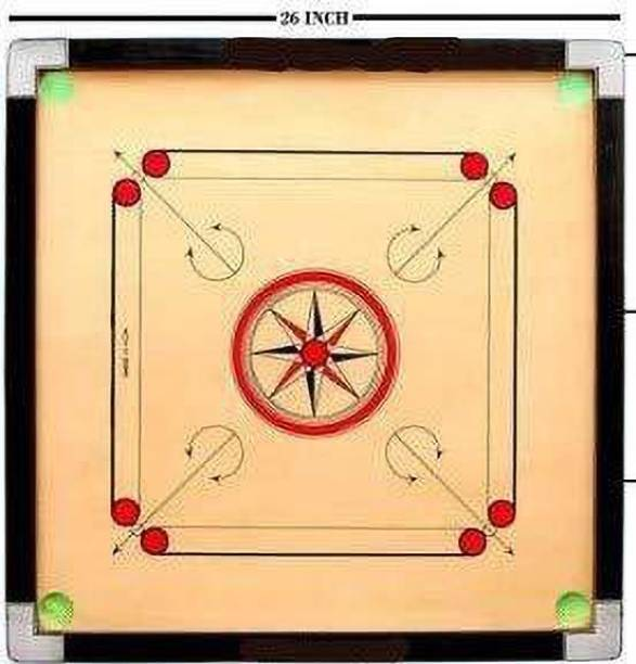 Deepak Shree fine Quality Wooden Carrom Board 26 inch Carrom with Coins, Striker and Carrom Powder 66.04 cm Carrom Board Board Game
