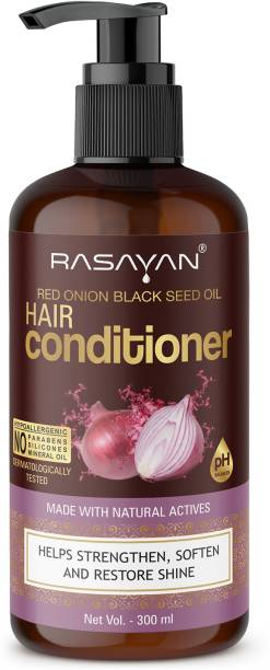 Rasayan Red Onion Black Seed Oil Hair Conditioner Made With Natural Actives Helps Strengthen, Soften And Restore Shine