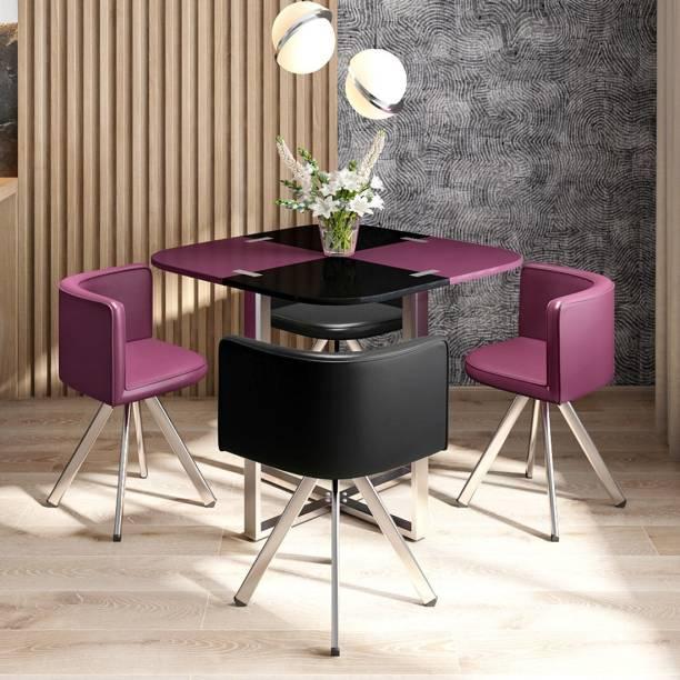 Durian NEON Purple/Black Metal 4 Seater Dining Set