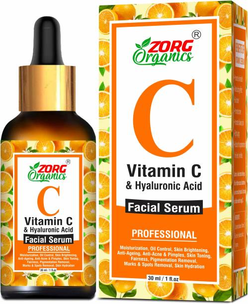 Zorg Organics Vitamin C Facial Serum for Anti-Aging, Hyperpigmentation, Reduce Wrinkles, Skin Toning with Vitamin C, Hyaluronic Acid, Aloe Vera Extract