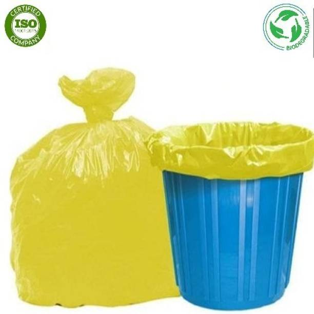 Runwet Premium - Biodegradable Garbage Bags| Disposable Garbage Trash Waste Dustbin Covers & Bags 3 Packs of 30pcs - 90 Pcs Medium:19 Inch X 21 Inch(Yellow) Medium 15 L Garbage Bag
