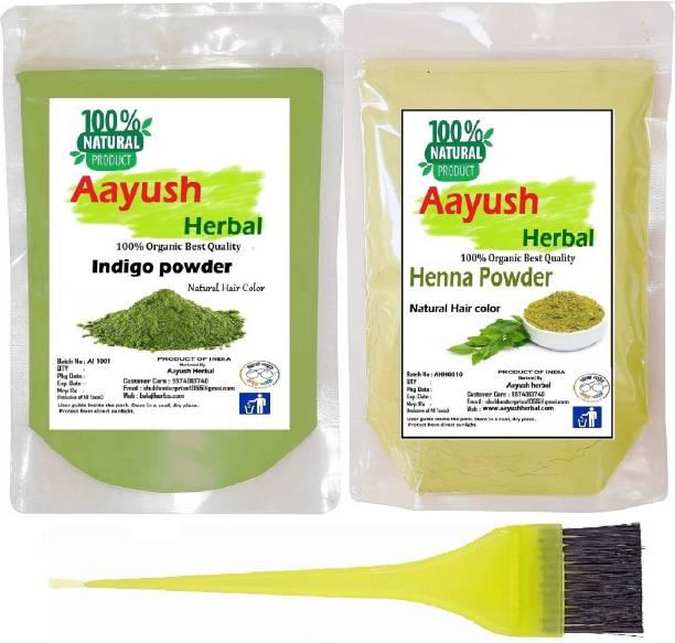 Aayush herbal INDIGO POWDER & HENNA POWDER 100% NATURAL HAIR COLOR (100g EACH)