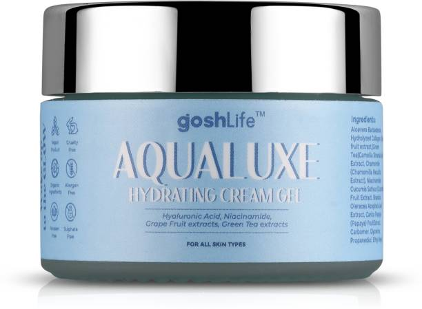 GoshLife Aqualuxe Hydrating Face Cream Gel Moisturizer with Niacinamide, Hyaluronic acid, Grapefruit extracts, Aloe Vera for Hydration Boost and Nourishment, 50gm