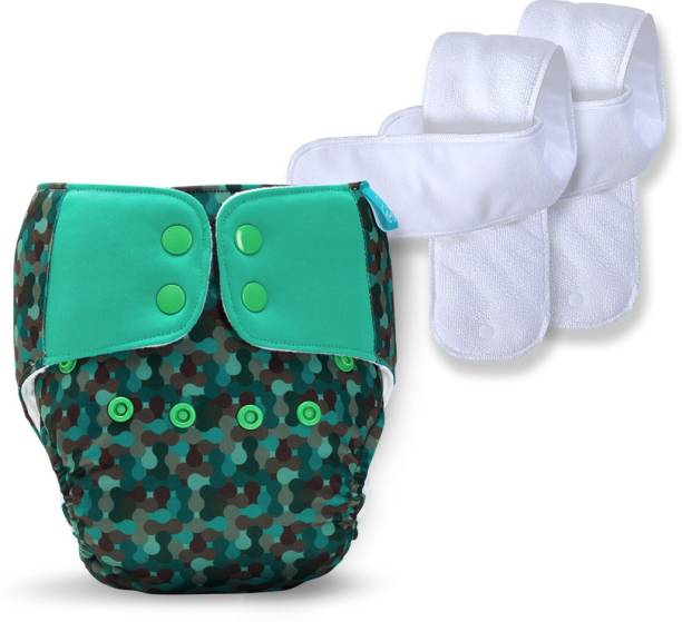 bumberry Baby Pocket Diaper 2.0- Waterproof Reusable & Adjustable Cloth Diaper with leg gusset, wetfree lining & 2 extralong wetfree Inserts (6 -36 months, Camo)