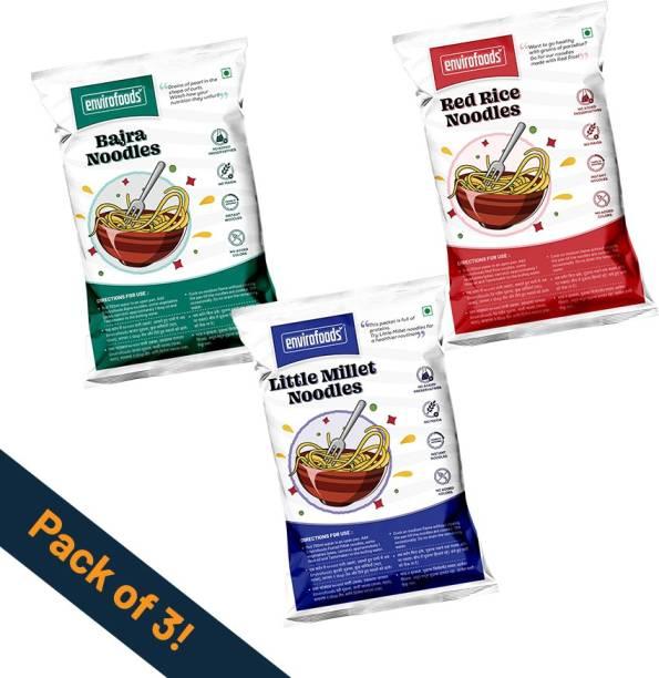 envirofoods Instant Noodles Pack of 3(Red Rice, Bajra, Little Millet) Instant Noodles Vegetarian