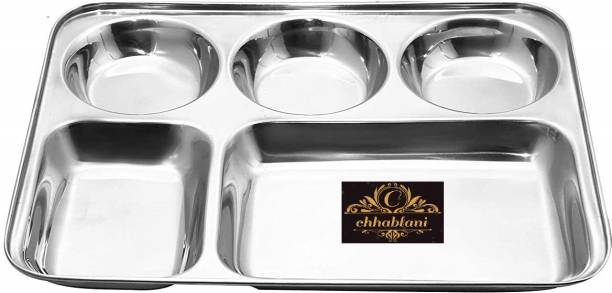 chhablani Heavy Stanless Steel Bhojan Thali / Dinner Plate Sectioned Plate (set of 12) Sectioned Plate