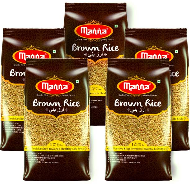 Manna Brown Rice 5kg (1kg x 5 Packs) - Premium Quality, Long Grain, Unpolished. 100% Natural. Naturally Low GI, High in Fibre. Helps Control Diabetes Brown Rice (Medium Grain) Brown Rice (Medium Grain)