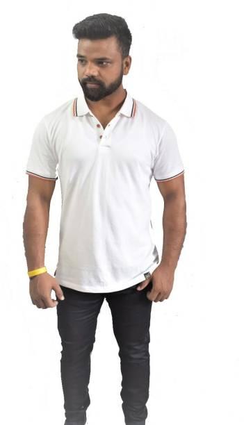 PSI Solid Men Polo Neck Reversible White T-Shirt