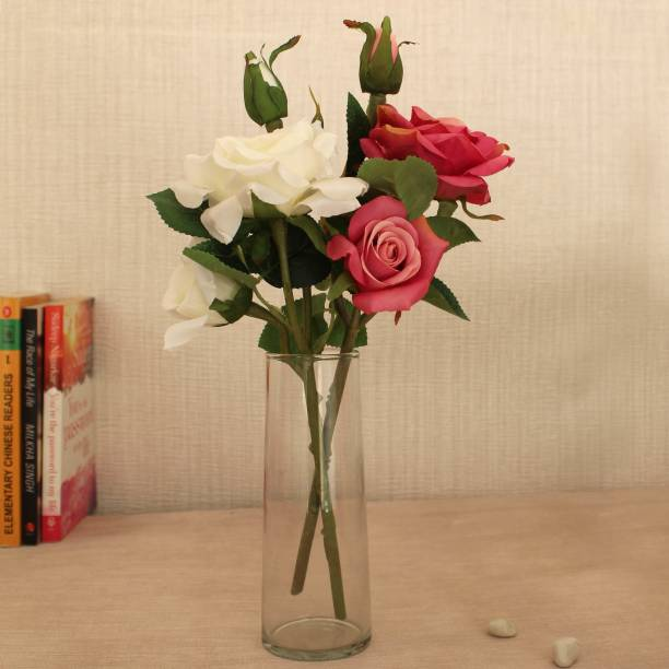 TIED RIBBONS Decorative Artificial Rose Flowers Stem with Vase For Home Décor, Living Room, Center Table, Corner, Gift Item, Wedding Decorations White, Pink Rose Artificial Flower  with Pot